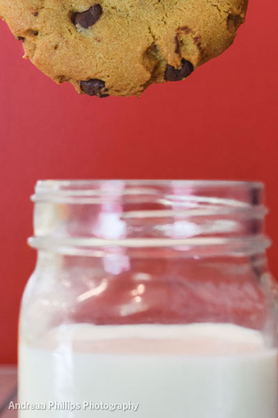 Chocolate Chip Cookie dunked in milk from local creamery