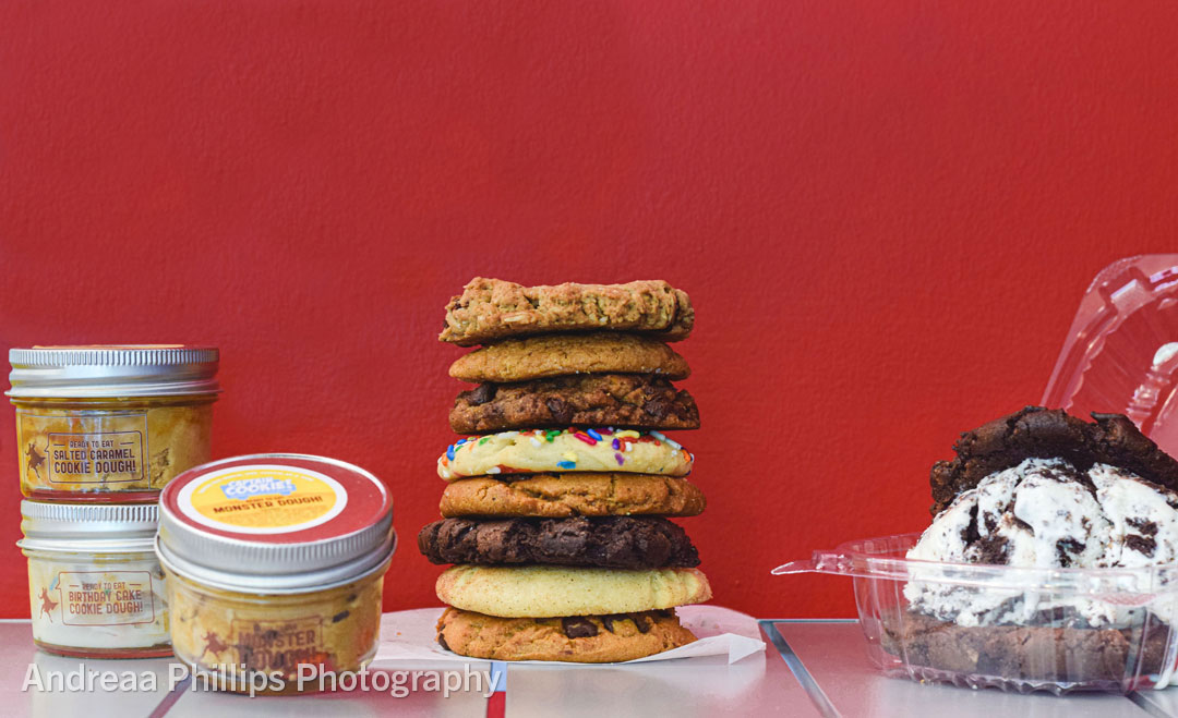 Edible Cookie Dough, A Stack of Fresh Cookies, Ice Cream Sandwich to go