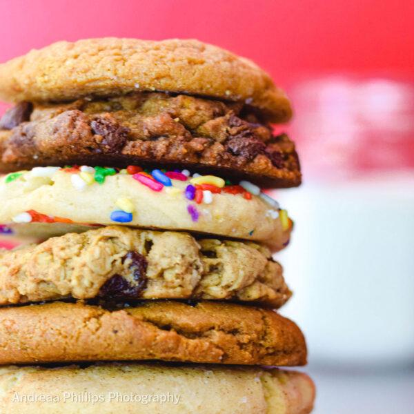 half dozen cookies stacked