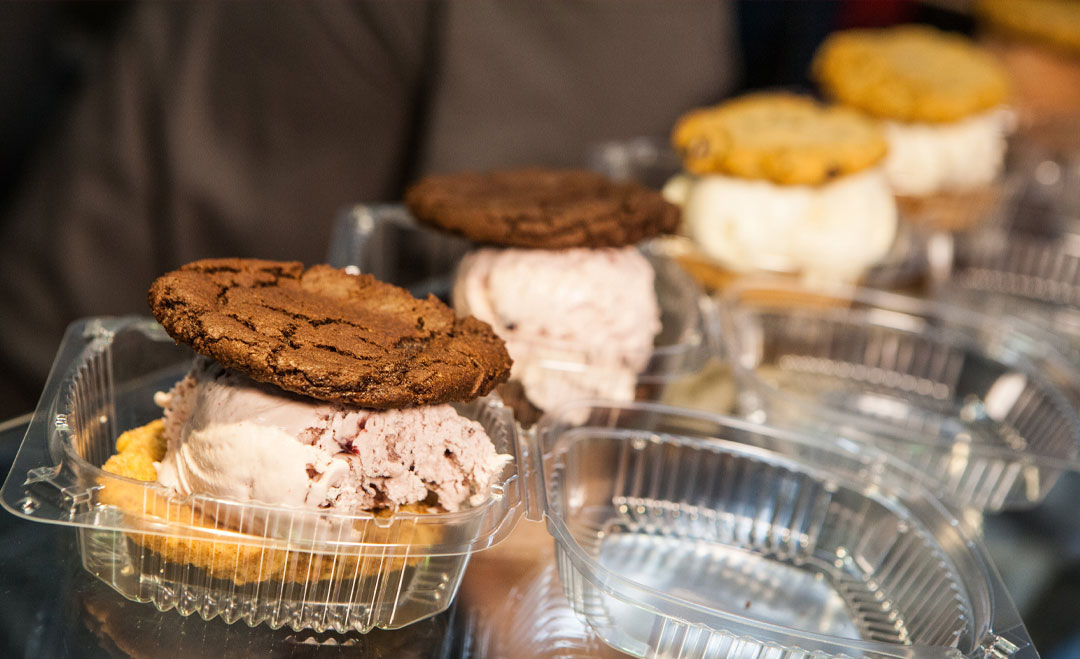 Ice Cream Sandwiches lined up to go